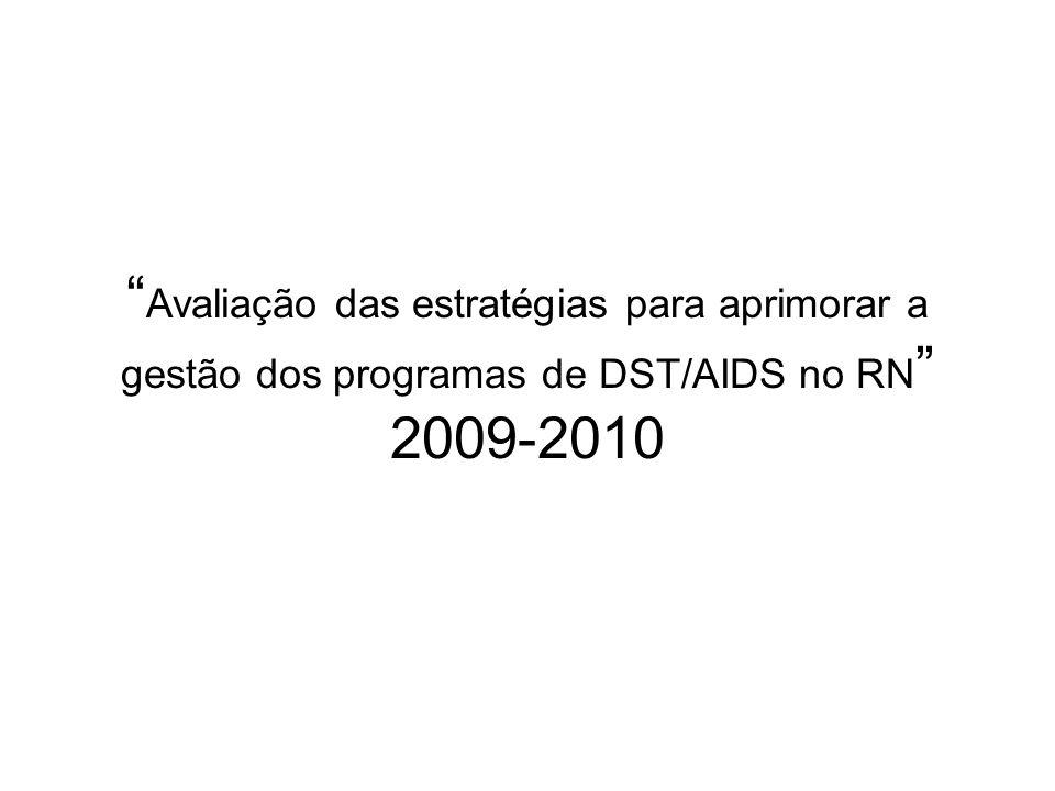 Projeto 2009-2010 2009 1.Apoio institucional aos programas de DST/AIDS do RN 2.Assistência: 1.