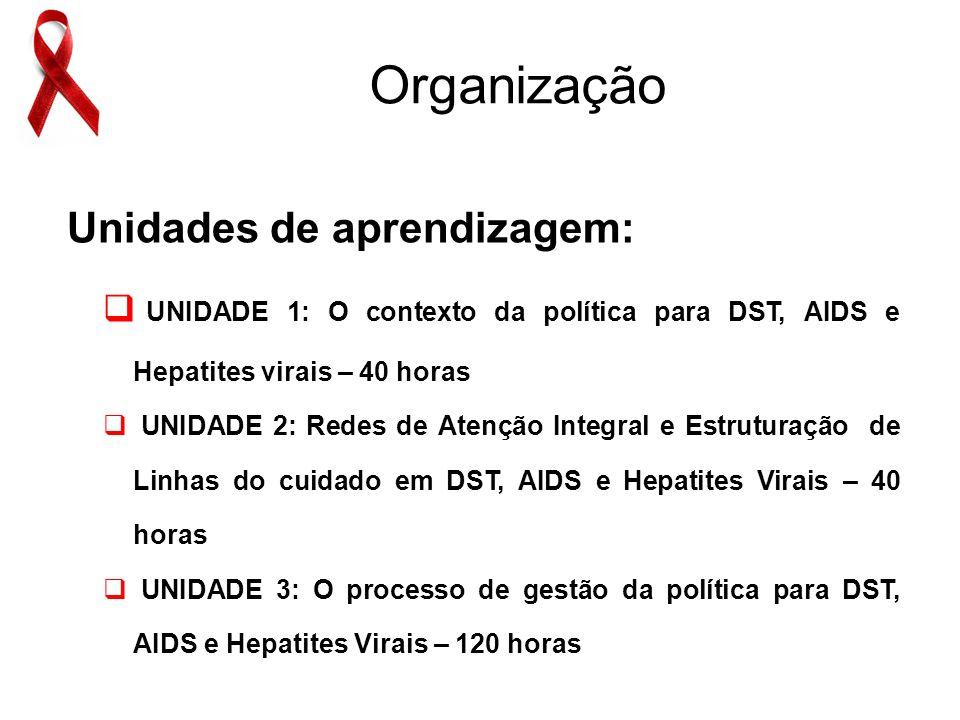 Unidades de aprendizagem: UNIDADE 1: O contexto da política para DST, AIDS e Hepatites virais – 40 horas UNIDADE 2: Redes de Atenção Integral e Estruturação de Linhas do cuidado em DST, AIDS e Hepatites Virais – 40 horas UNIDADE 3: O processo de gestão da política para DST, AIDS e Hepatites Virais – 120 horas Organização