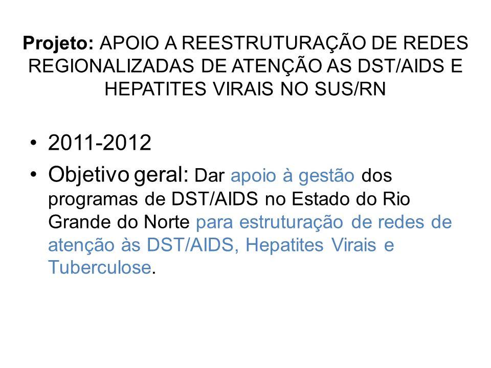 Projeto: APOIO A REESTRUTURAÇÃO DE REDES REGIONALIZADAS DE ATENÇÃO AS DST/AIDS E HEPATITES VIRAIS NO SUS/RN 2011-2012 Objetivo geral: Dar apoio à gestão dos programas de DST/AIDS no Estado do Rio Grande do Norte para estruturação de redes de atenção às DST/AIDS, Hepatites Virais e Tuberculose.