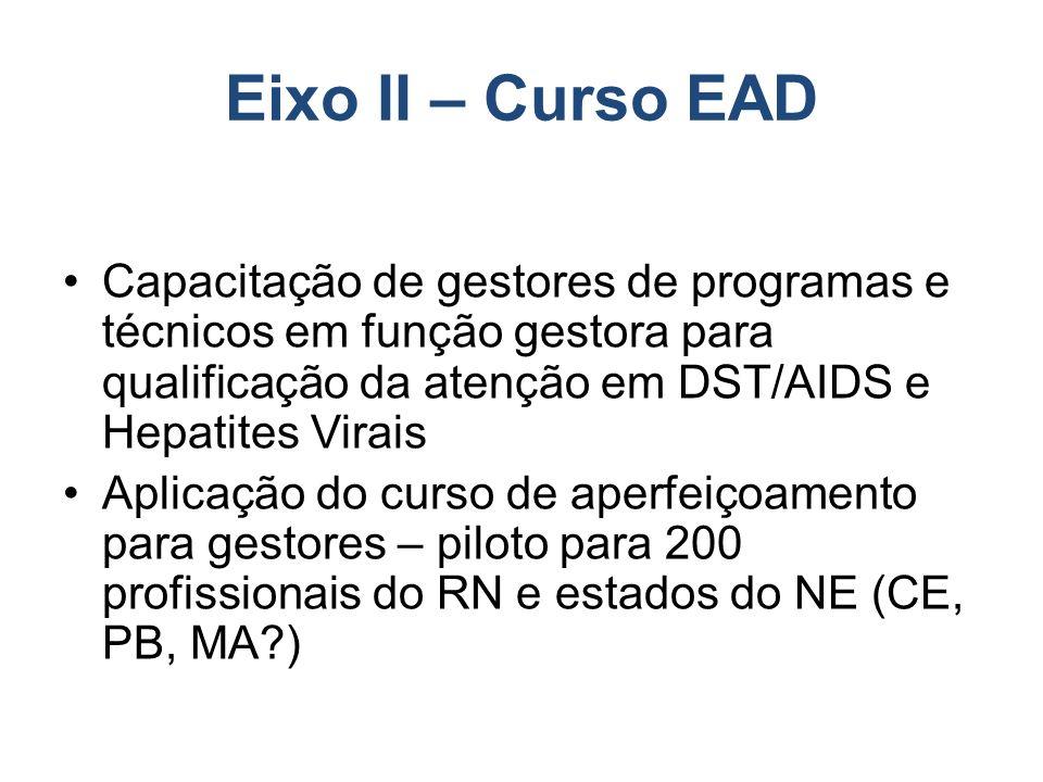 Eixo II – Curso EAD Capacitação de gestores de programas e técnicos em função gestora para qualificação da atenção em DST/AIDS e Hepatites Virais Aplicação do curso de aperfeiçoamento para gestores – piloto para 200 profissionais do RN e estados do NE (CE, PB, MA?)