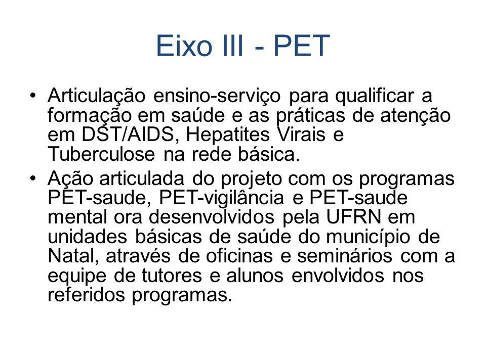 Eixo III - PET Articulação ensino-serviço para qualificar a formação em saúde e as práticas de atenção em DST/AIDS, Hepatites Virais e Tuberculose na rede básica.