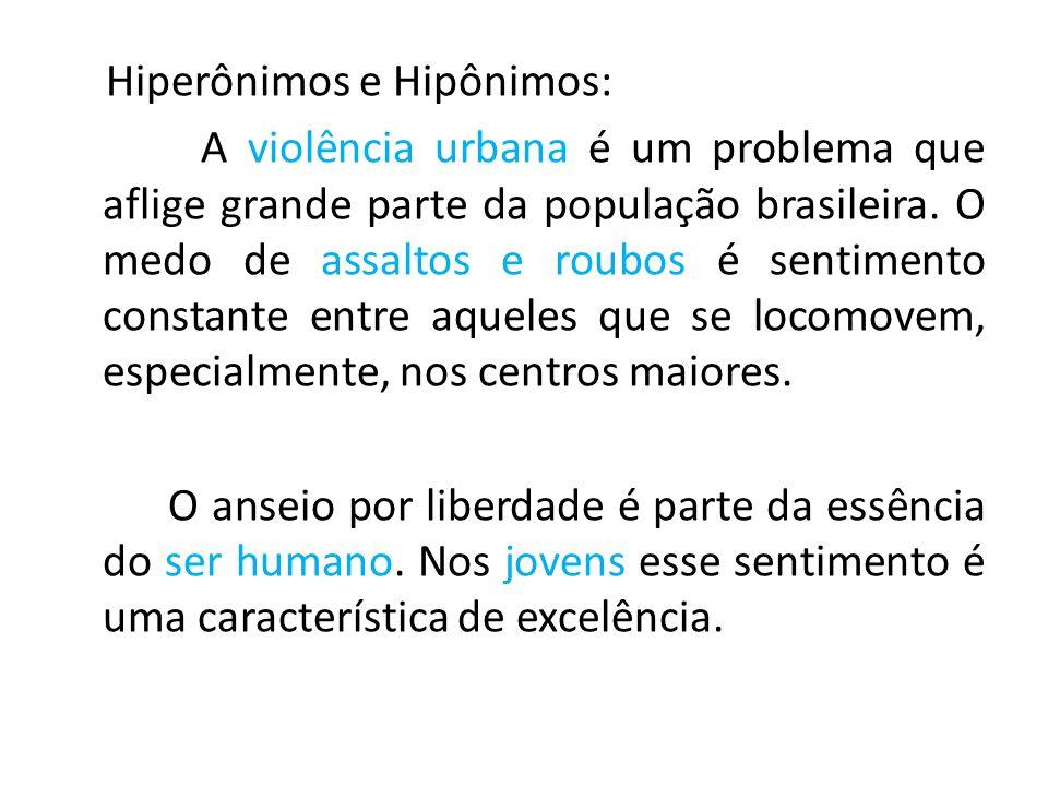 Hiperônimos e Hipônimos: A violência urbana é um problema que aflige grande parte da população brasileira.