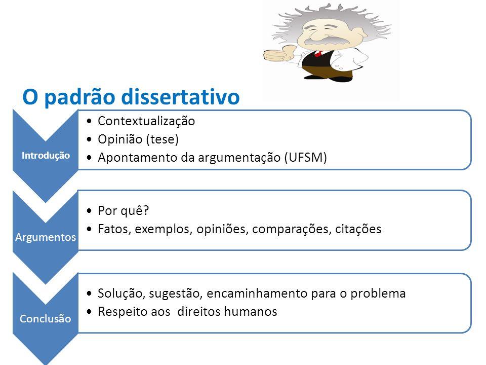 O padrão dissertativo Introdução Contextualização Opinião (tese) Apontamento da argumentação (UFSM) Argumentos Por quê.