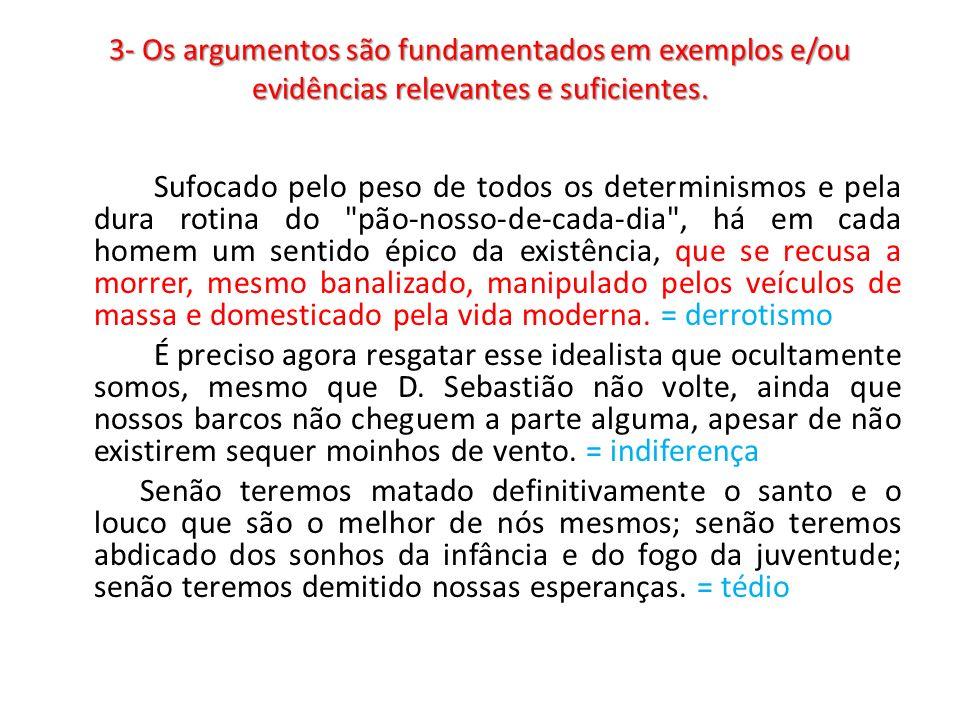 3- Os argumentos são fundamentados em exemplos e/ou evidências relevantes e suficientes.
