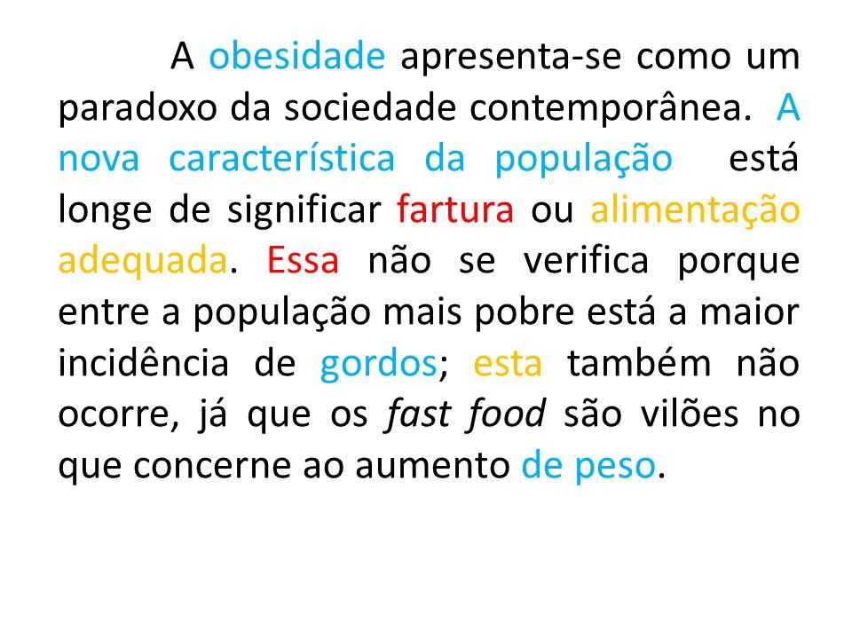A obesidade apresenta-se como um paradoxo da sociedade contemporânea.