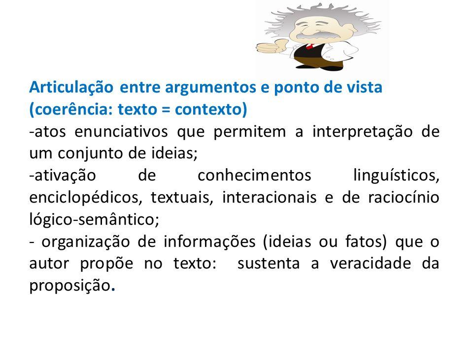 Articulação entre argumentos e ponto de vista (coerência: texto = contexto) -atos enunciativos que permitem a interpretação de um conjunto de ideias; -ativação de conhecimentos linguísticos, enciclopédicos, textuais, interacionais e de raciocínio lógico-semântico; - organização de informações (ideias ou fatos) que o autor propõe no texto: sustenta a veracidade da proposição.