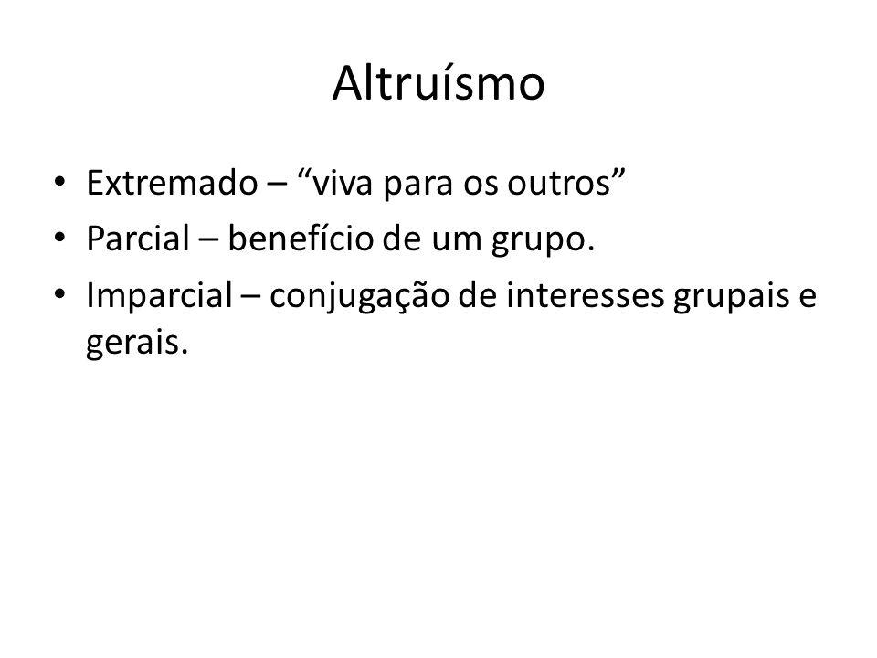 Os Altruísmos EXTREMADOIMPARCIALPARCIAL Sacrifício dos interesses particulares em prol da coletividade.