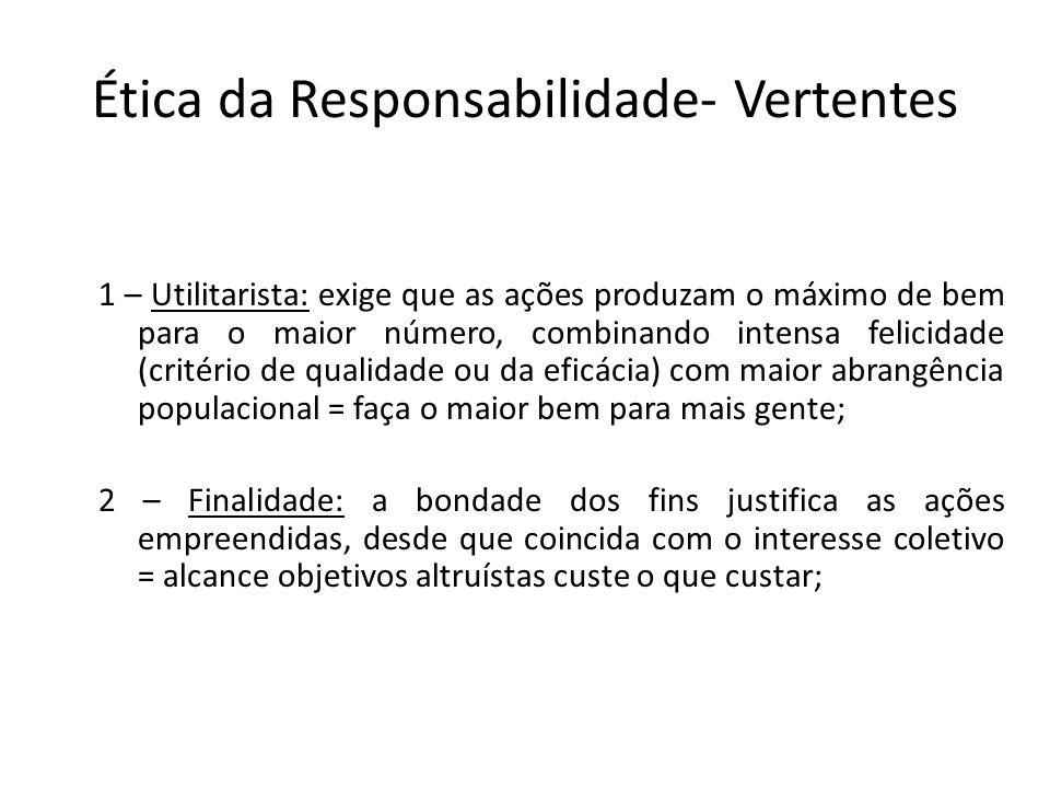 As Duas Teorias Éticas Ética da Convicção (tratado dos deveres) Ética da Responsabilidade (estudo dos fins humanos) As decisões decorrem da aplicação de princípios ou ideais.