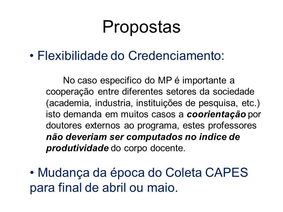 Propostas Flexibilidade do Credenciamento: No caso especifico do MP é importante a cooperação entre diferentes setores da sociedade (academia, industr