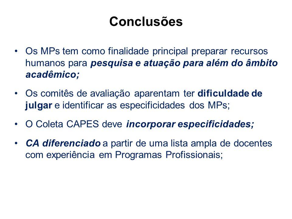 Os MPs tem como finalidade principal preparar recursos humanos para pesquisa e atuação para além do âmbito acadêmico; Os comitês de avaliação aparenta