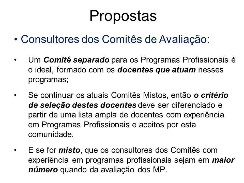 Consultores dos Comitês de Avaliação: Um Comitê separado para os Programas Profissionais é o ideal, formado com os docentes que atuam nesses programas