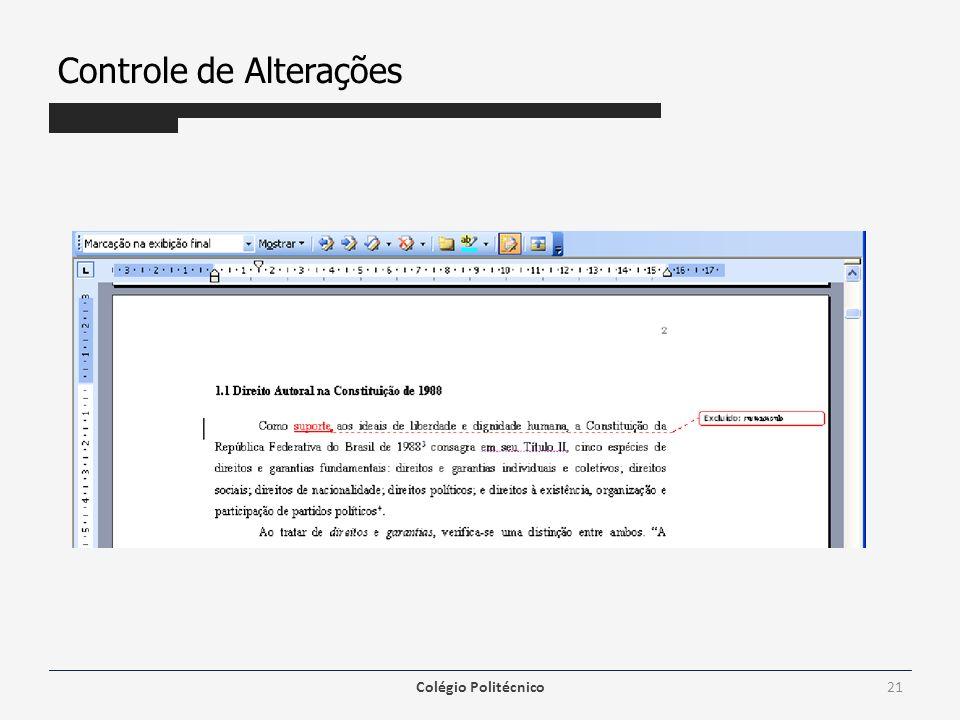 Controle de Alterações Colégio Politécnico21