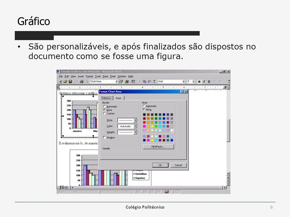 Gráfico São personalizáveis, e após finalizados são dispostos no documento como se fosse uma figura. Colégio Politécnico6