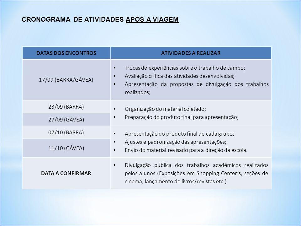 DATAS DOS ENCONTROSATIVIDADES A REALIZAR 17/09 (BARRA/GÁVEA) Trocas de experiências sobre o trabalho de campo; Avaliação crítica das atividades desenv