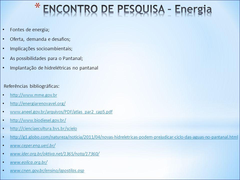 Fontes de energia; Oferta, demanda e desafios; Implicações socioambientais; As possibilidades para o Pantanal; Implantação de hidrelétricas no pantana