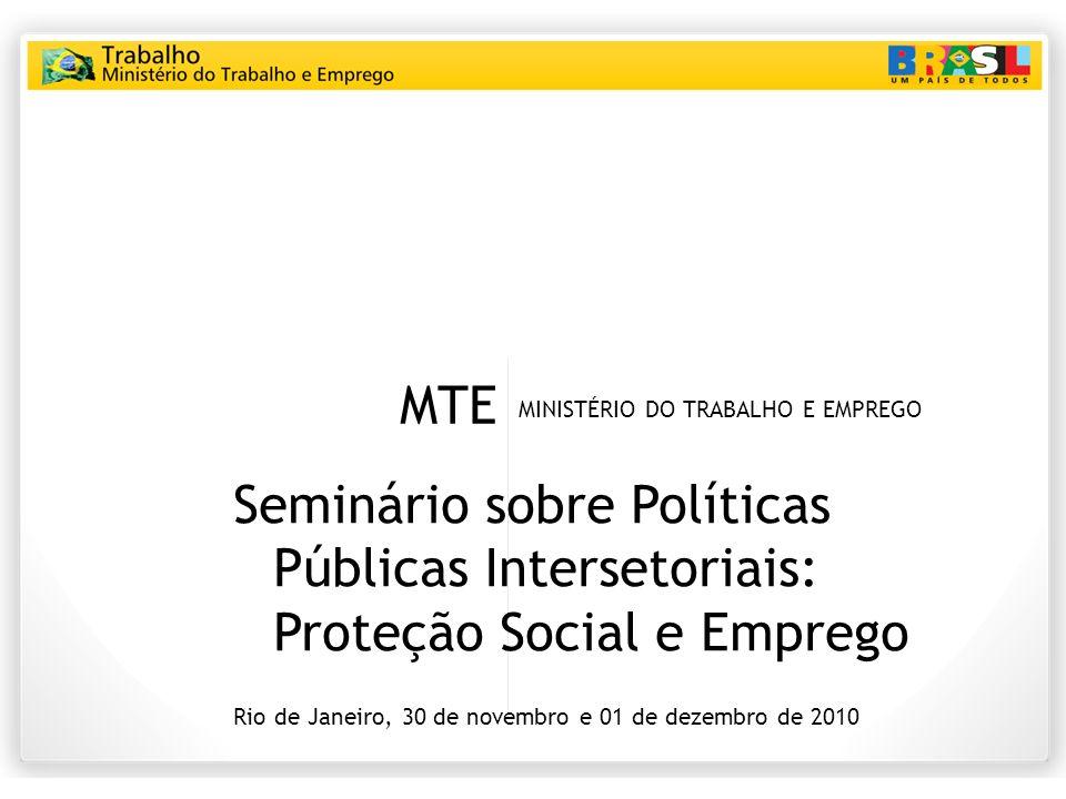 MTE MINISTÉRIO DO TRABALHO E EMPREGO Seminário sobre Políticas Públicas Intersetoriais: Proteção Social e Emprego Rio de Janeiro, 30 de novembro e 01