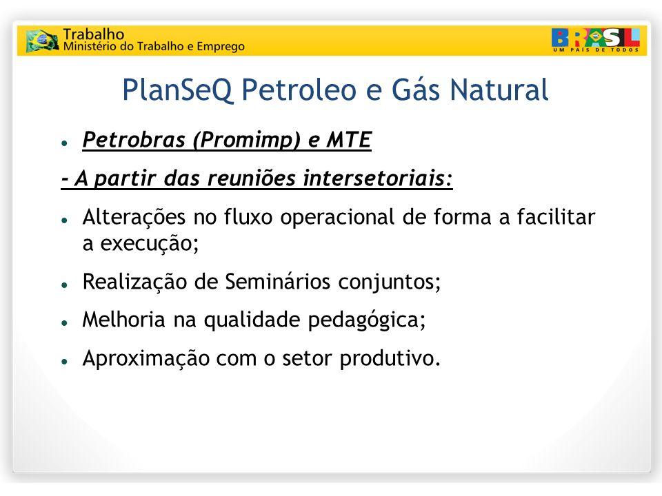 PlanSeQ Petroleo e Gás Natural Petrobras (Promimp) e MTE - A partir das reuniões intersetoriais: Alterações no fluxo operacional de forma a facilitar a execução; Realização de Seminários conjuntos; Melhoria na qualidade pedagógica; Aproximação com o setor produtivo.