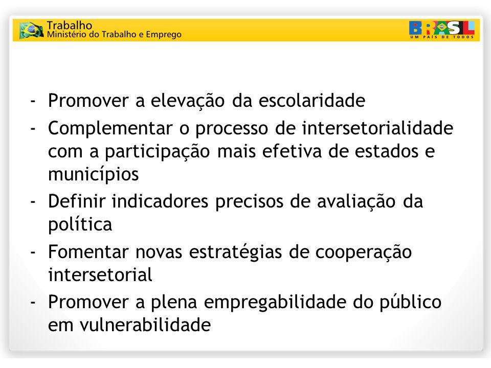 -Promover a elevação da escolaridade -Complementar o processo de intersetorialidade com a participação mais efetiva de estados e municípios -Definir i