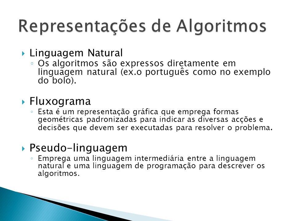 Linguagem Natural Os algoritmos são expressos diretamente em linguagem natural (ex.o português como no exemplo do bolo). Fluxograma Esta é um represen