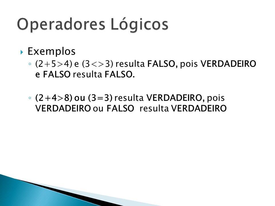 Exemplos (2+5>4) e (3<>3) resulta FALSO, pois VERDADEIRO e FALSO resulta FALSO. (2+4>8) ou (3=3) resulta VERDADEIRO, pois VERDADEIRO ou FALSO resulta