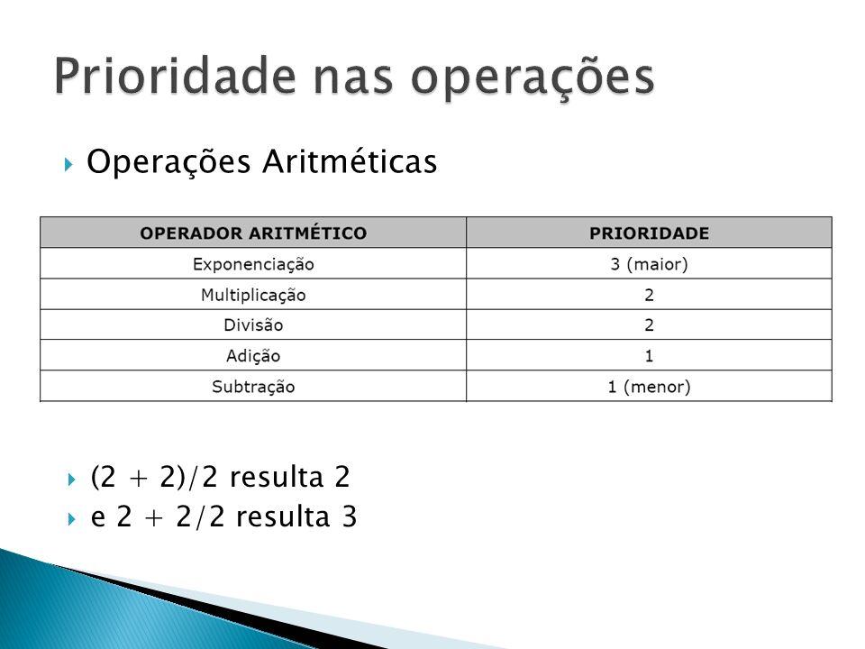 Operações Aritméticas (2 + 2)/2 resulta 2 e 2 + 2/2 resulta 3