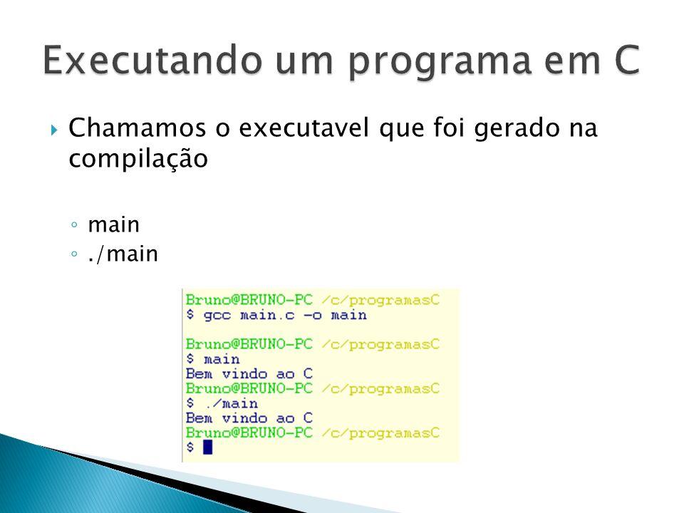 Chamamos o executavel que foi gerado na compilação main./main