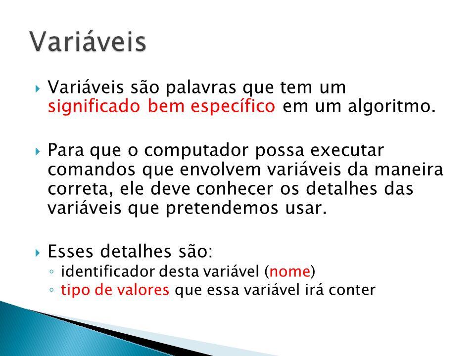 Variáveis são palavras que tem um significado bem específico em um algoritmo. Para que o computador possa executar comandos que envolvem variáveis da