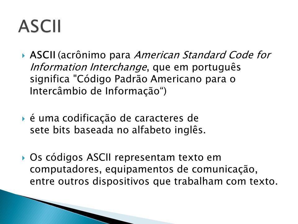 ASCII (acrônimo para American Standard Code for Information Interchange, que em português significa