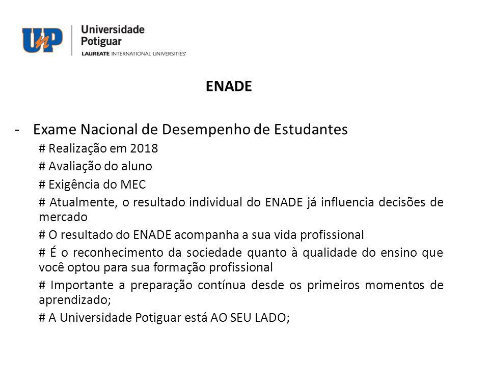 ENADE -Exame Nacional de Desempenho de Estudantes # Realização em 2018 # Avaliação do aluno # Exigência do MEC # Atualmente, o resultado individual do