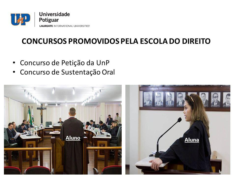 CONCURSOS PROMOVIDOS PELA ESCOLA DO DIREITO Concurso de Petição da UnP Concurso de Sustentação Oral Aluno Aluna