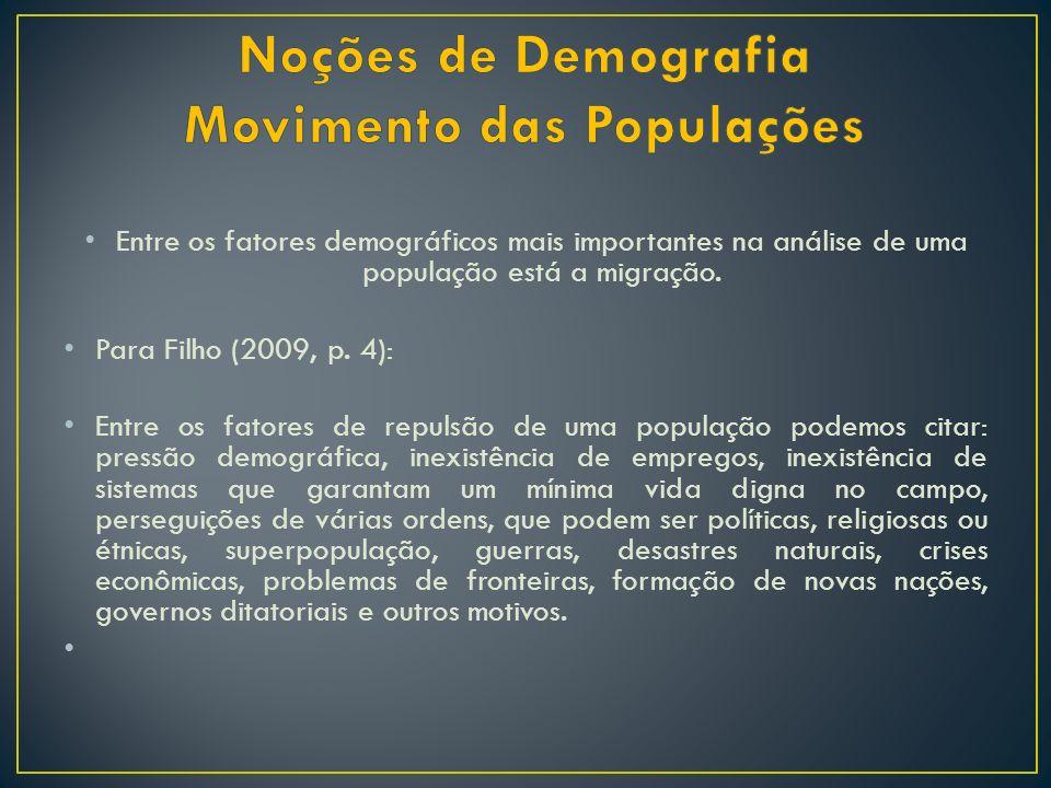 Entre os fatores demográficos mais importantes na análise de uma população está a migração. Para Filho (2009, p. 4): Entre os fatores de repulsão de u