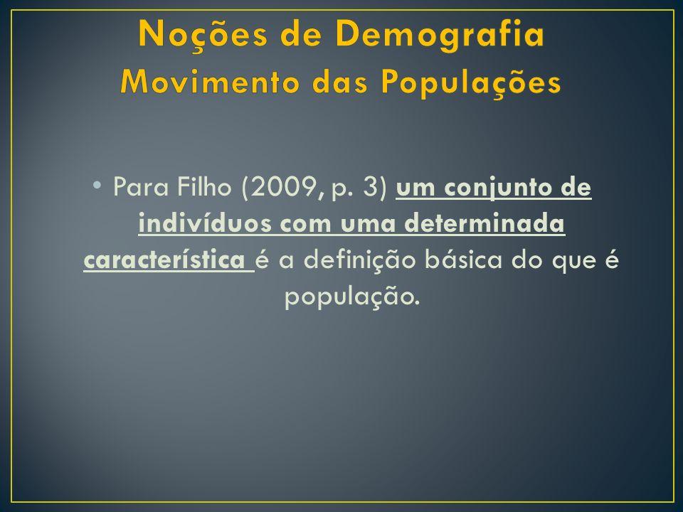 Para Filho (2009, p. 3) um conjunto de indivíduos com uma determinada característica é a definição básica do que é população.