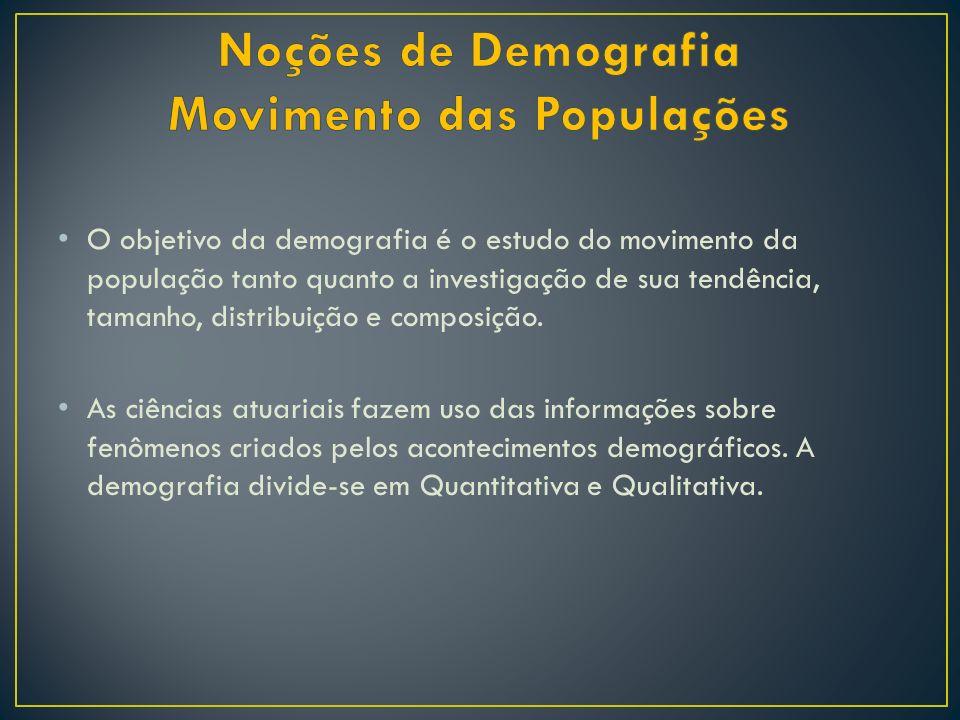 O objetivo da demografia é o estudo do movimento da população tanto quanto a investigação de sua tendência, tamanho, distribuição e composição. As ciê