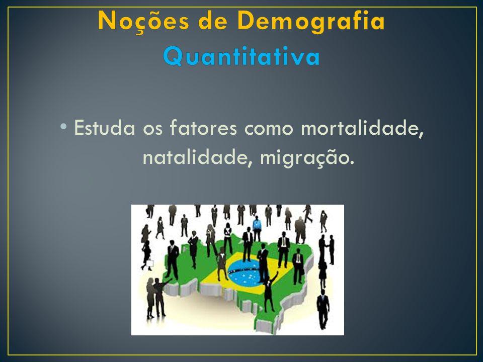 Estuda os fatores como mortalidade, natalidade, migração.