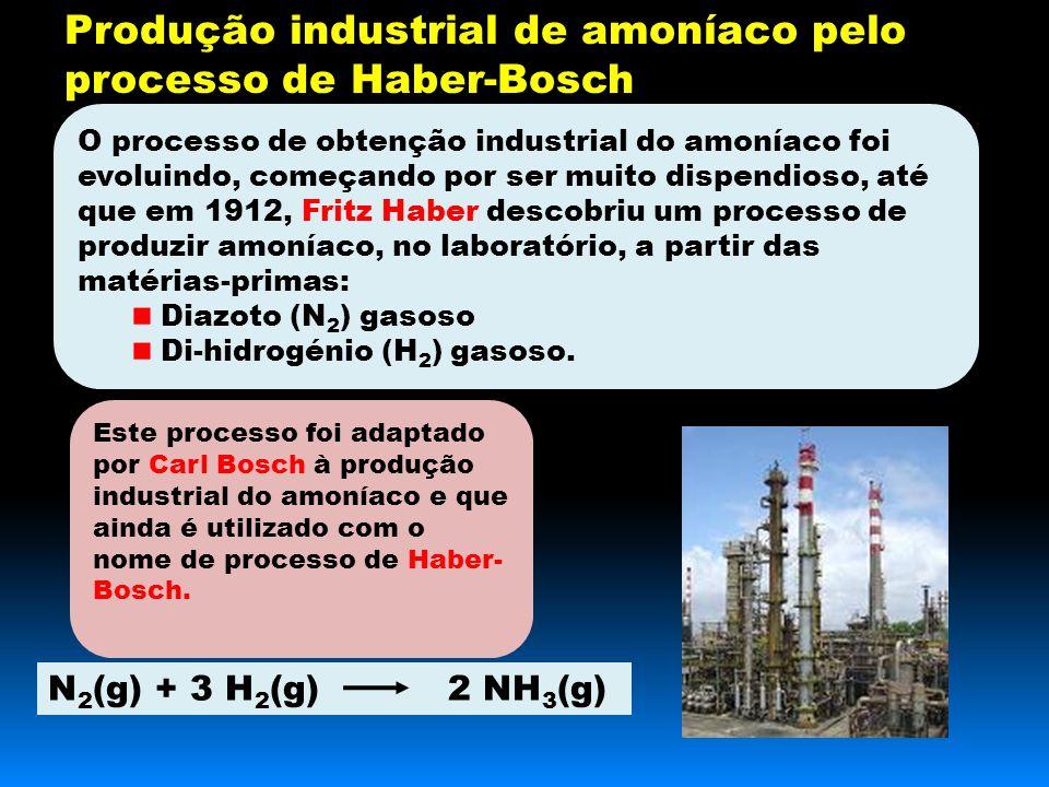 O processo de obtenção industrial do amoníaco foi evoluindo, começando por ser muito dispendioso, até que em 1912, Fritz Haber descobriu um processo de produzir amoníaco, no laboratório, a partir das matérias-primas: Diazoto (N 2 ) gasoso Di-hidrogénio (H 2 ) gasoso.