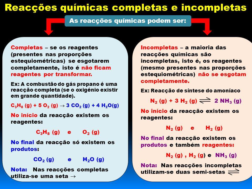 Reacções químicas completas e incompletas As reacções químicas podem ser: Completas – se os reagentes (presentes nas proporções estequiométricas) se esgotarem completamente, isto é não ficam reagentes por transformar.