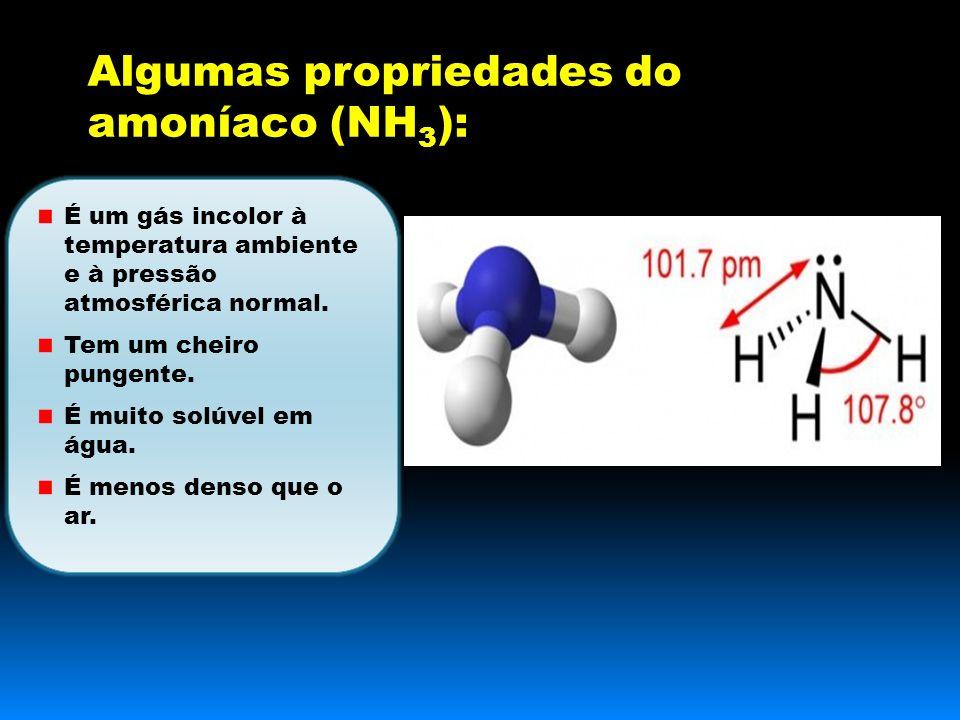 Algumas propriedades do amoníaco (NH 3 ): É um gás incolor à temperatura ambiente e à pressão atmosférica normal.
