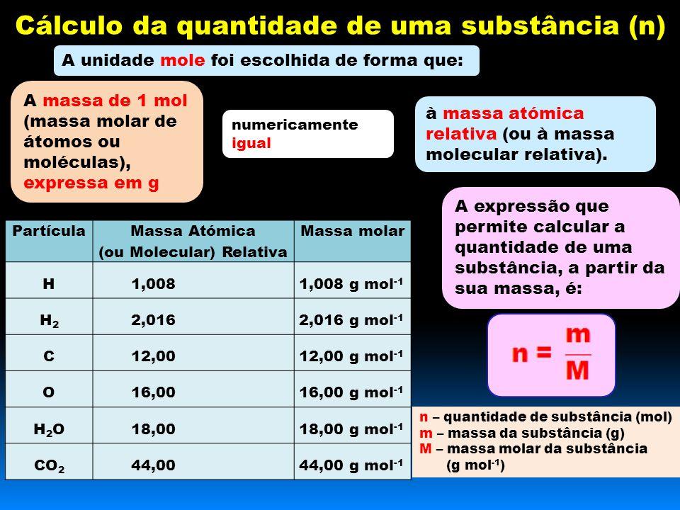 Cálculo da quantidade de uma substância (n) A unidade mole foi escolhida de forma que: A massa de 1 mol (massa molar de átomos ou moléculas), expressa em g numericamente igual à massa atómica relativa (ou à massa molecular relativa).