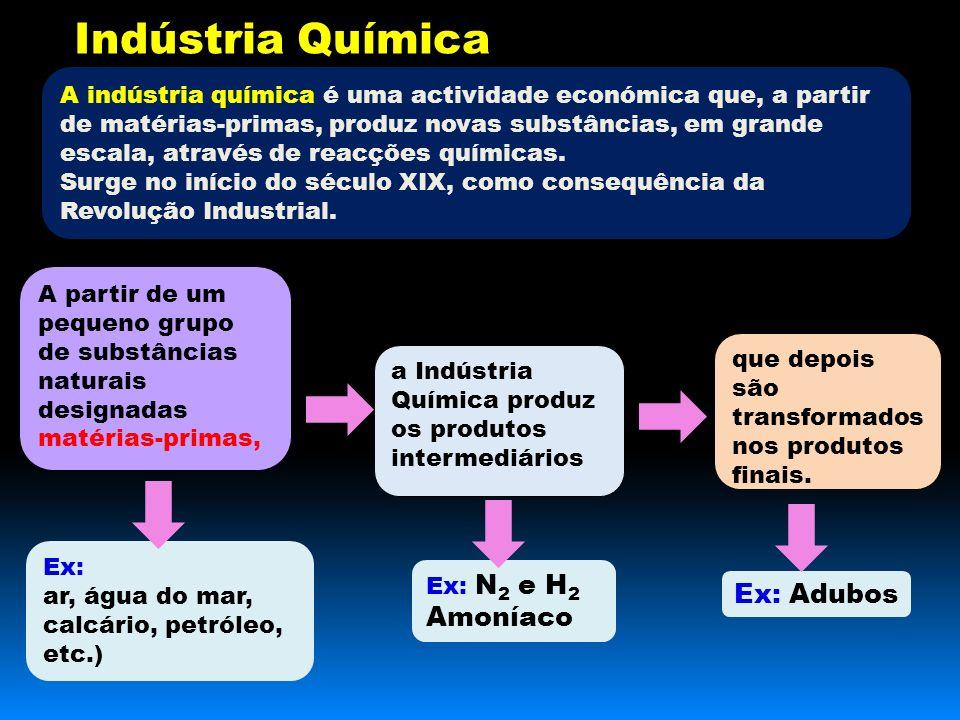 Indústria Química A indústria química é uma actividade económica que, a partir de matérias-primas, produz novas substâncias, em grande escala, através de reacções químicas.