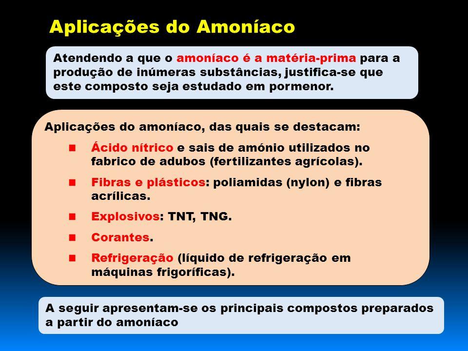 Aplicações do Amoníaco Atendendo a que o amoníaco é a matéria-prima para a produção de inúmeras substâncias, justifica-se que este composto seja estudado em pormenor.