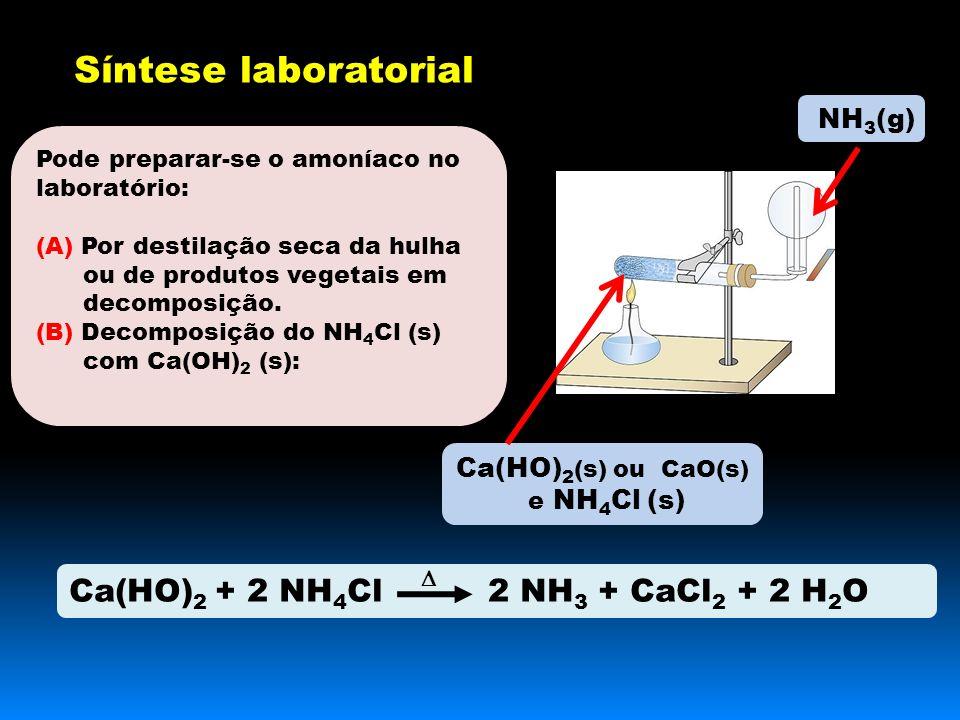 Pode preparar-se o amoníaco no laboratório: (A) Por destilação seca da hulha ou de produtos vegetais em decomposição.