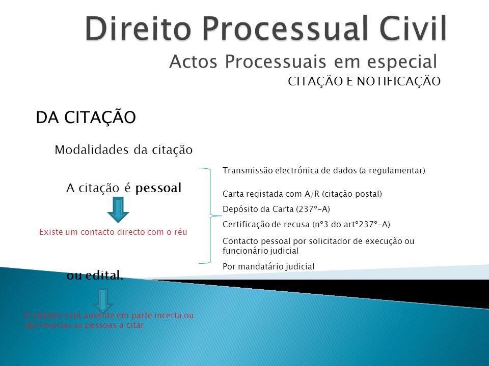 Actos Processuais em especial CITAÇÃO E NOTIFICAÇÃO A citação é pessoal ou edital. DA CITAÇÃO Modalidades da citação Transmissão electrónica de dados