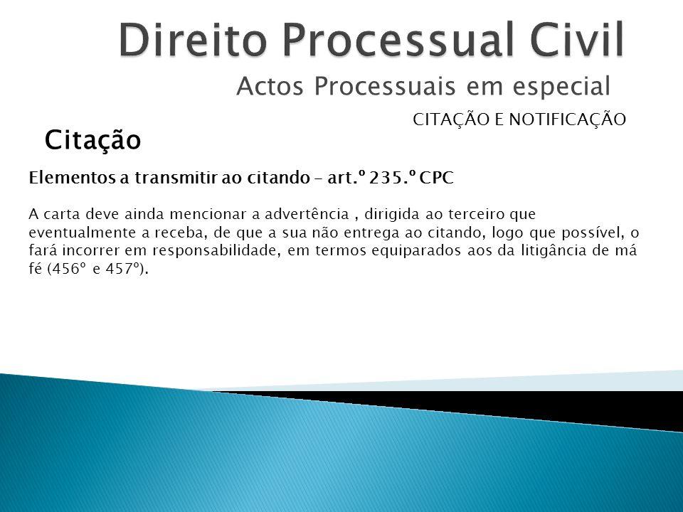 Actos Processuais em especial CITAÇÃO E NOTIFICAÇÃO Citação Elementos a transmitir ao citando – art.º 235.º CPC A carta deve ainda mencionar a advertê