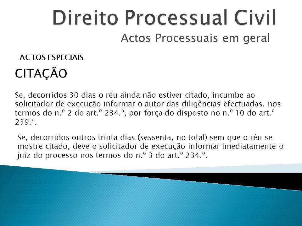 Actos Processuais em geral ACTOS ESPECIAIS CITAÇÃO Se, decorridos 30 dias o réu ainda não estiver citado, incumbe ao solicitador de execução informar