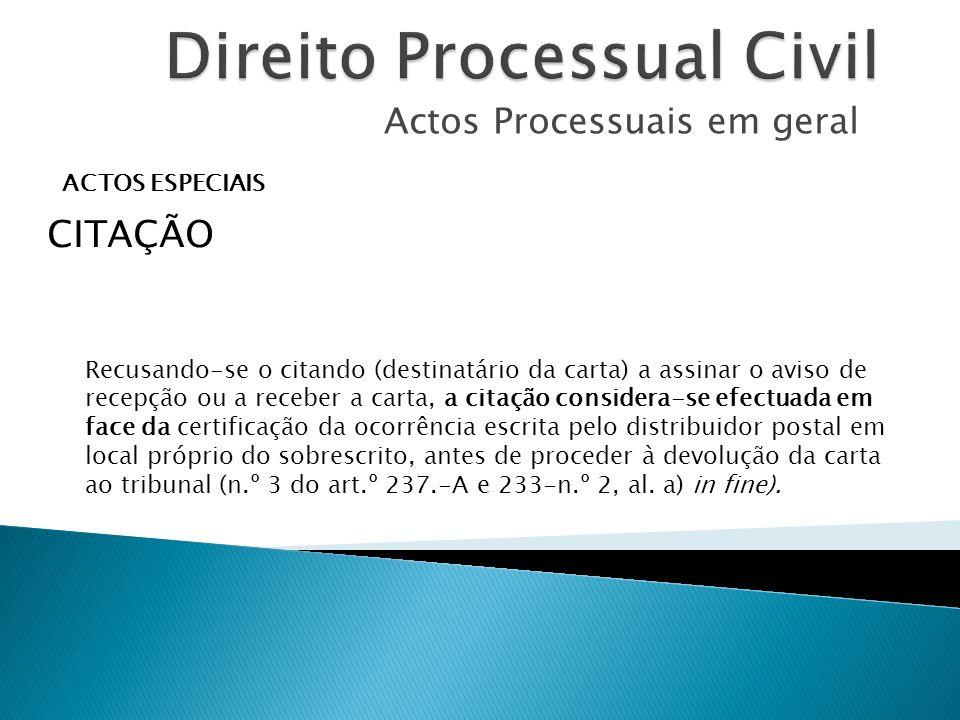 Actos Processuais em geral ACTOS ESPECIAIS CITAÇÃO Recusando-se o citando (destinatário da carta) a assinar o aviso de recepção ou a receber a carta,