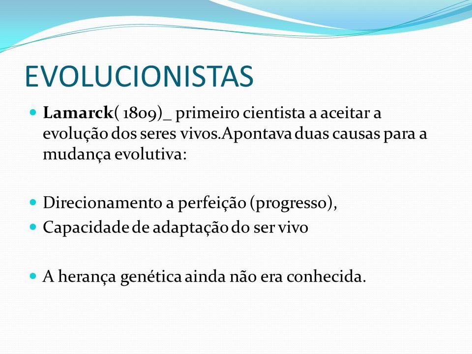 EVOLUCIONISTAS Lamarck( 1809)_ primeiro cientista a aceitar a evolução dos seres vivos.Apontava duas causas para a mudança evolutiva: Direcionamento a perfeição (progresso), Capacidade de adaptação do ser vivo A herança genética ainda não era conhecida.