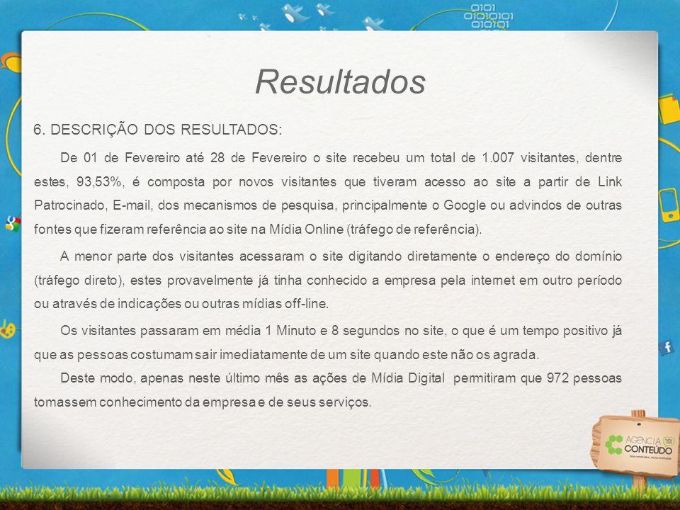 6. DESCRIÇÃO DOS RESULTADOS: De 01 de Fevereiro até 28 de Fevereiro o site recebeu um total de 1.007 visitantes, dentre estes, 93,53%, é composta por