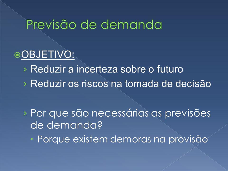 OBJETIVO: Reduzir a incerteza sobre o futuro Reduzir os riscos na tomada de decisão Por que são necessárias as previsões de demanda.