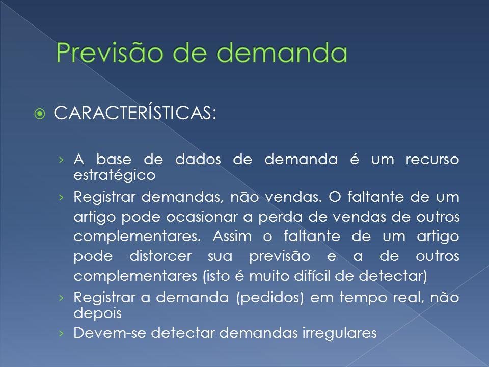 CARACTERÍSTICAS: A base de dados de demanda é um recurso estratégico Registrar demandas, não vendas.