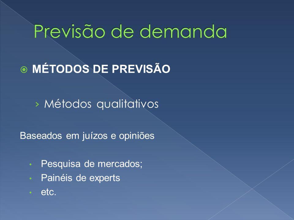 MÉTODOS DE PREVISÃO Métodos qualitativos Baseados em juízos e opiniões Pesquisa de mercados; Painéis de experts etc.